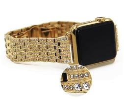 24K Gold 42MM Apple Watch 24K Gold Links Band with Diamond R