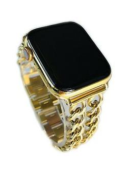 24K Gold Plated 44MM Apple Watch SERIES 4 Gold Links Band CU