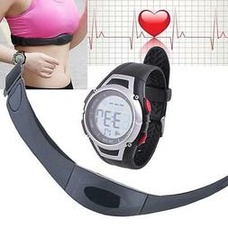 Backlight Fitness Pulse Heart Rate Monitor Watch &Chest Stra