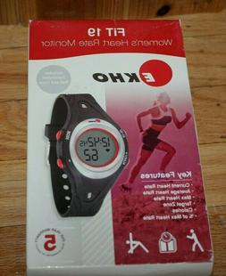 Ekho Fit 19 women's Heart rate Monitor Watch Black w/case Be