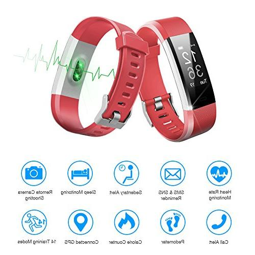 LETSCOM Tracker HR, Activity Tracker Watch with Heart Rate Monitor, Smart Fitness Band with Step Counter, Pedometer Watch for Women Men