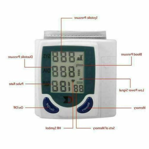 Automatic Wrist Blood Pressure Monitor Cuff Heart Rate