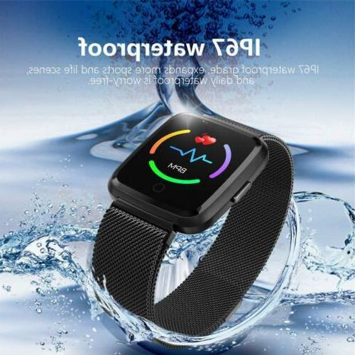 Bluetooth Smart Monitor Fitness Tracker Stainless Steel