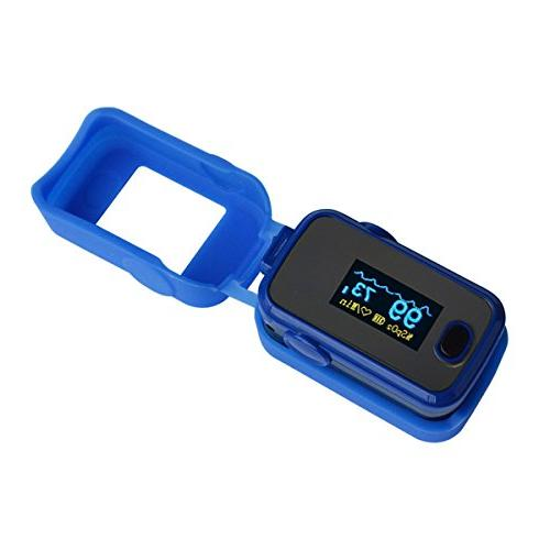 AMEMO Fingertip - Blood Oxygen and Monitor, Beep, Lanyard, Silicone Case