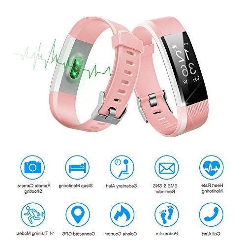 LETSCOM Tracker Activity Tracker Watch Heart Rate Monitor, Smart Pedometer Watch for Women and Men