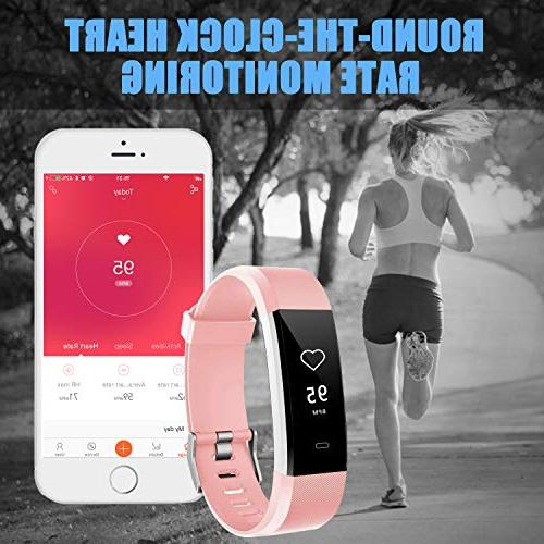 LETSCOM Rate Smart Counter Pedometer, Tracker IP67 for Women Kids