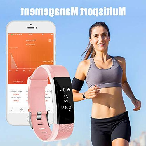 LETSCOM Tracker, Rate Monitor Smart with Step Counter Tracker Watch, IP67 Waterproof for Women