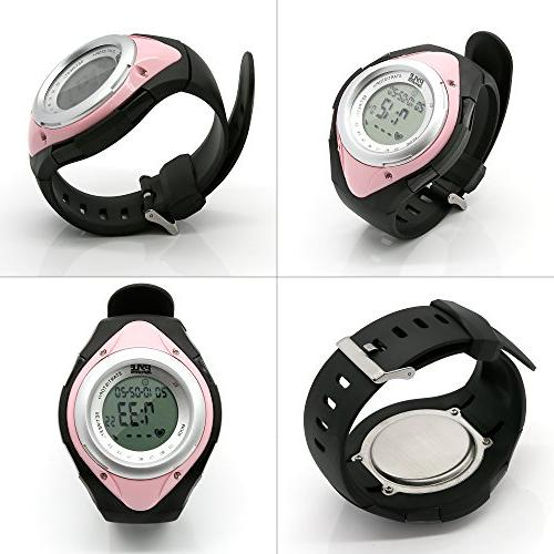 Pyle Fitness with Heart Healthy Sports Pedometer Activity Tracker Steps Stop Watch Resistant - with