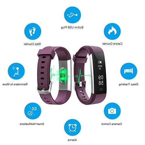 LETSCOM Fitness Tracker with Heart Rate Monitor, Sports Tracker Waterproof Pedometer Sleep Monitor, for Women, and Men