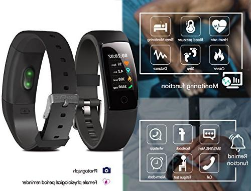 Waterproof Health Tracker,MorePro Tracker Color Screen Heart Blood Pressure Calories Sleep Call/SMS Remind for Gift.