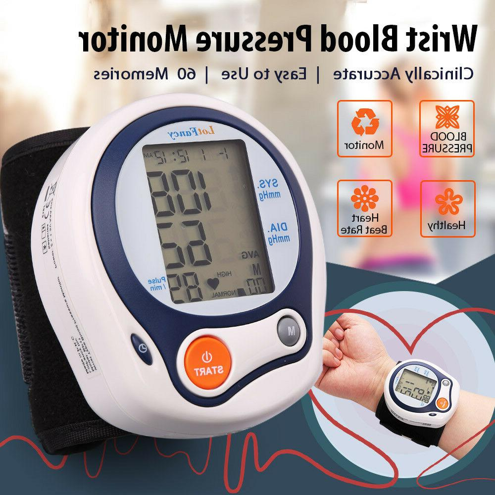 Wrist Blood Pressure Monitor Pulse Cuff Machine LED
