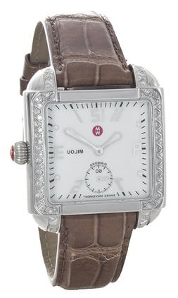 Michele Women's Milou White Mother of Pearl Dial Leather Ban